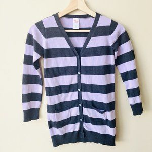 Gymboree Grey and Lilac Long Button Down Cardigan